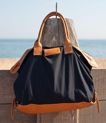 Black leather canvas bag