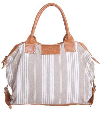 Leather Canvas Bag - oatmeal linen stripe