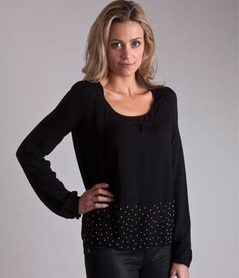Lady Mary Top - black with beading