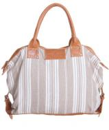 Leather Canvas Bag - oatmeal linen stripe
