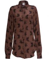 Cassie Shirt - 100% chocolate silk crepe
